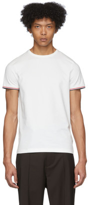 Moncler White Striped Sleeves T-Shirt