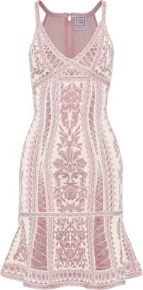 Herve Leger Fluted Metallic Jacquard-knit Dress