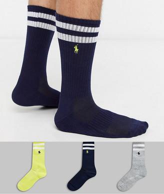 Polo Ralph Lauren bar stripe cushion 3 pack socks in yellow/black/gray
