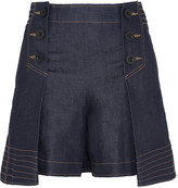 Sacai Pleated denim shorts