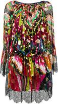 Roberto Cavalli lace-trim floral tie-waist dress