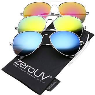 Zerouv Premium Full Mirrored Aviator Sunglasses w/Flash Mirror Lens (3-Pack Silver | Yellow + Orange + Blue)