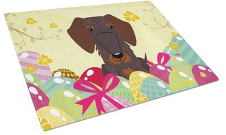 Caroline's Treasures Easter Eggs Wire Haired Dachshund Chocolate Glass Cutting Board Large