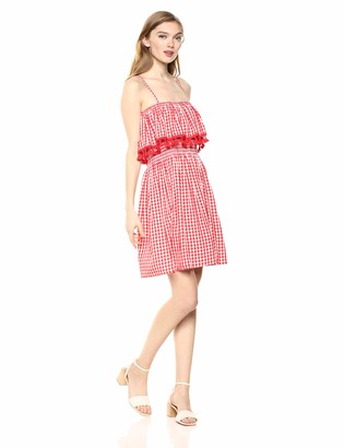 Jack by BB Dakota Women's Hayride Yarn Dyed Gingham Smocked Dress w/Tassel Details