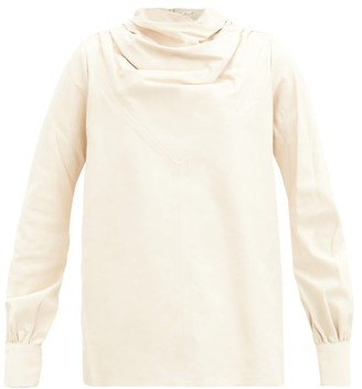 Dodo Bar Or Bilbi Gathered High-neck Leather Blouse - Cream