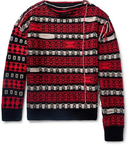 Calvin Klein Oversized Frayed Wool-Blend Sweater