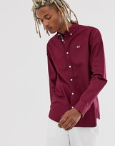 Tommy Jeans denim shirt in burgundy with small icon logo