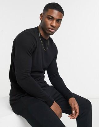 Asos Design DESIGN cotton sweater in black