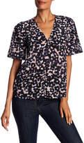 Rebecca Taylor Short Sleeve Oleander Silk Top