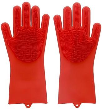 Scruba Dub Scruba-Dub Antibacterial Silicone Cleaning Gloves Ruby Red