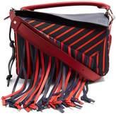 Loewe Puzzle fringed striped canvas bag