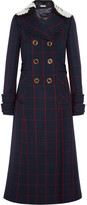 Miu Miu Guipure Lace-trimmed Checked Wool Coat - Navy