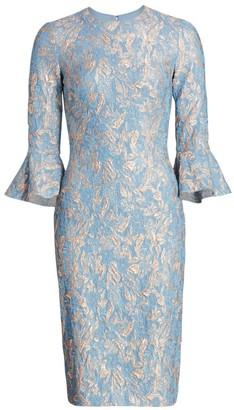 Theia Jacquard Bell-Sleeve Sheath Dress