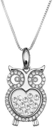 "Treasure Lockets Cubic Zirconia Owl Floating Locket in Sterling Silver (18"")"