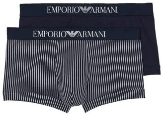 Emporio Armani Pattern Mix Stretch Cotton Trunk 2-Pack