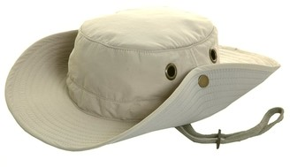 Hawkins Mens Lightweight Wide Brim Aussie Sun Hat Hidden Pocket Beige Size M 58cm