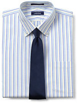 Lands' End Men's Tall Pattern No Iron Supima Pinpoint Buttondown Collar-White/Admiral Blue Stripe
