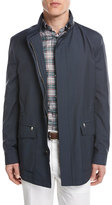 Brioni Micro-Check Wool Field Jacket, Blue