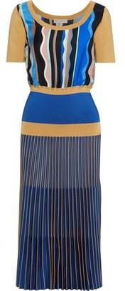Emilio Pucci Printed Silk-twill And Ribbed-knit Midi Dress