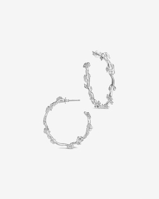 Express Sterling Forever Blossom Hoop Earrings