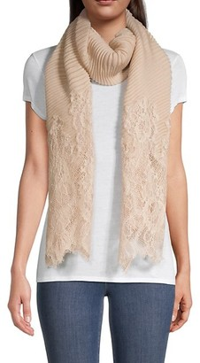 Valentino Plisse Pleated Lace-Panelled Scarf