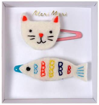 Meri Meri Embroidered Cat & Fish Hair Clips