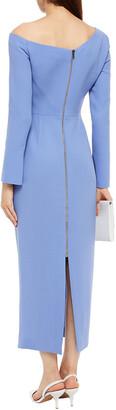 Roland Mouret Trevi Off-the-shoulder Draped Wool-crepe Midi Dress