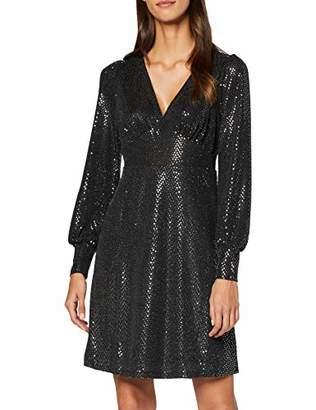 Vero Moda Women's Nkfvlisa Ls Knit Card R Party Dress, (Black Detail: Silver Sequin), 8 (Size: X-Small)
