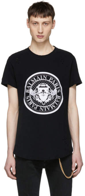 Balmain Black Logo Coin T-Shirt