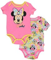 "Disney Minnie Mouse Baby Girls' ""Minnie Rocks!"" 2-Pack Bodysuits"
