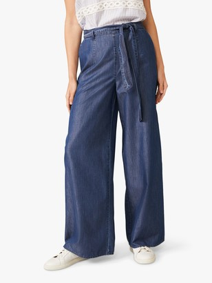 Phase Eight Jane Wide Leg Denim Look Trousers, Chambray