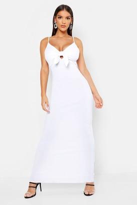 boohoo Tie Front Crepe Maxi Dress