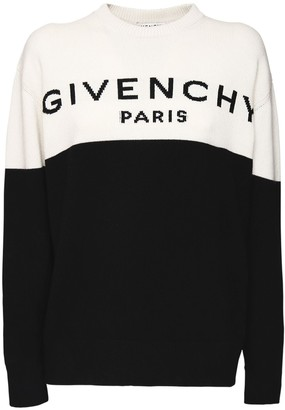 Givenchy Logo Two Tone Knit Cashmere Sweater