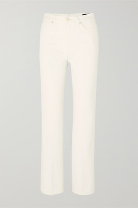 Gold Sign The Cropped A High-rise Straight-leg Jeans - White