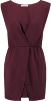 Halston Wrap-effect crepe mini dress
