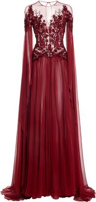 ZUHAIR MURAD Embellished Silk-Chiffon Flared Dress