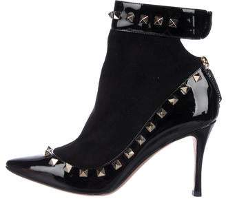 Valentino Rockstud Patent Leather Boots