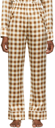 Ganni Brown Silk Check Lounge Pants