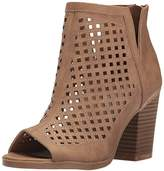 Sugar Women's vael Perf Open Toe Stacked Block Heel Fashion Bootie Ankle Boot