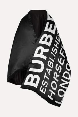 Burberry Padded Printed Silk-satin Cape - Black