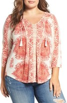 Lucky Brand Plus Size Women's Placed Print V-Neck Top