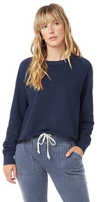 Alternative Washed Terry Boyfriend Pullover Sweatshirt (Deep Red Spiral Tie-Dye) Women's Clothing