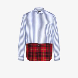 Comme des Garçons Homme Plus Striped tartan panel shirt