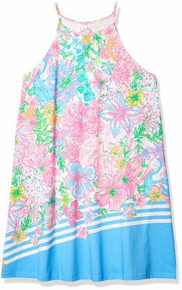 """Lilly Pulitzer Women's 22 1/2"""" Sleeveless Swing Dress with Halter Neckline and Tassels at Back Neck tie"""