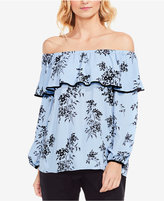Vince Camuto Delicate Bouquet Printed Ruffled Off-The-Shoulder Top