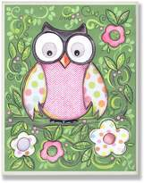 Stupell Industries The Kids Room by Stupell Polka Dot Owl with Green Floral Background Rectangle Wall Plaque