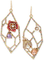 Betsey Johnson Gold-Tone Multi-Stone Geometric Cut-Out Drop Earrings