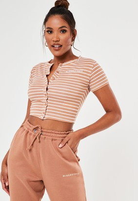 Missguided Nude Stripe Crop Top