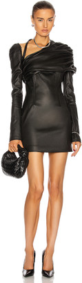 LaQuan Smith Ruched Shoulder Leather Dress in Black | FWRD