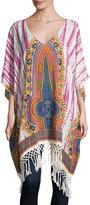 Band of Gypsies Long Tie-Dye Tunic Kaftan, Ivory/Denim/Fuchsia